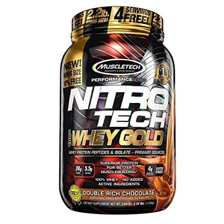 MuscleTech NitroTech Whey Gold, 100 Whey Protein Powder, Whey Isolate and Whey Peptides, Double Rich Chocolate, 2.2 Pound