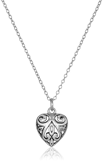 Amazon sterling silver filigree heart pendant necklace 18 sterling silver filigree heart pendant necklace 18quot aloadofball Image collections