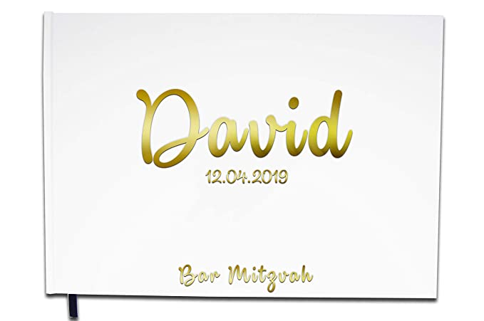 UTTSCHEID Personalised Bar Mitzvah Guest Book - Chrome or