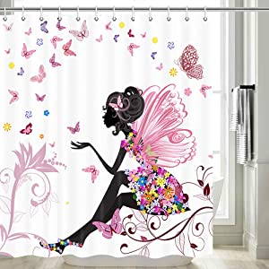 Fairy Girl Shower Curtain for Girls Bathroom, Fairy Girl with Wings Garden Floral Butterfly Shower Curtain, Pink Shower Curtain Set, Waterpoof Fabric Shower Curtain Hooks Included, 70 in