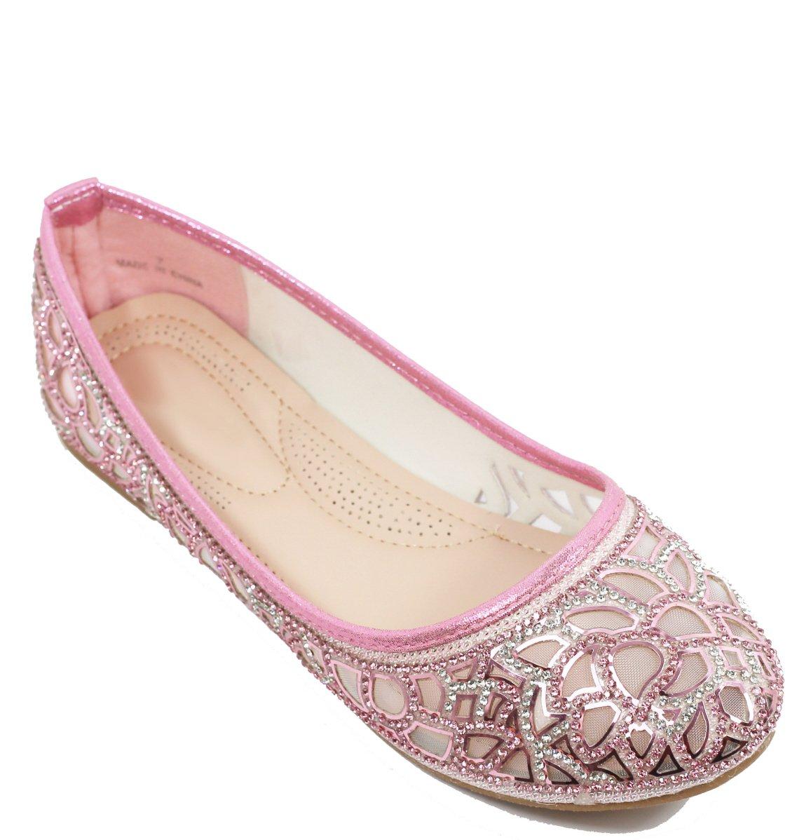 Walstar Women Rhinestone Flats Glitter Mesh Flats Slip on Shoes B071L184RF 8.5 B(M) US Mesh-pink