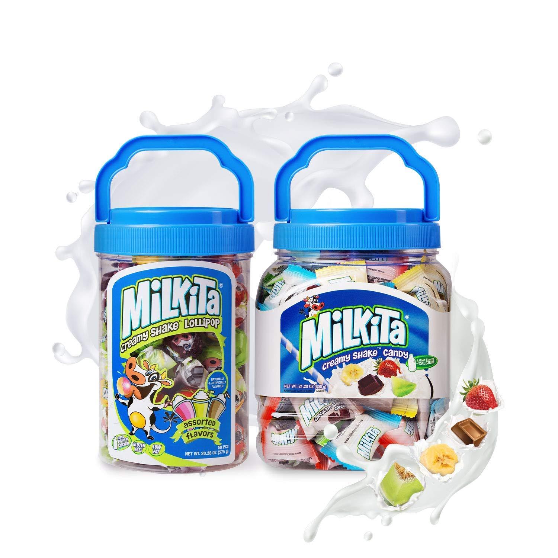 Milkita Creamy Shake Candy & Lollipop Jar, Gluten Free Chewy Candies with Calcium & Real Milk, Zero Trans Fat, Low-Sugar, Assorted Flavors