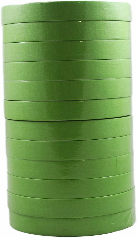 3M 26334 Scotch 3/4 Inch Performance Masking Tape Sleeve of 12 Rolls, Green