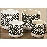 Wadiga Set de 4 Pots Plantes en Béton Noir et Blanc Style Ethnique
