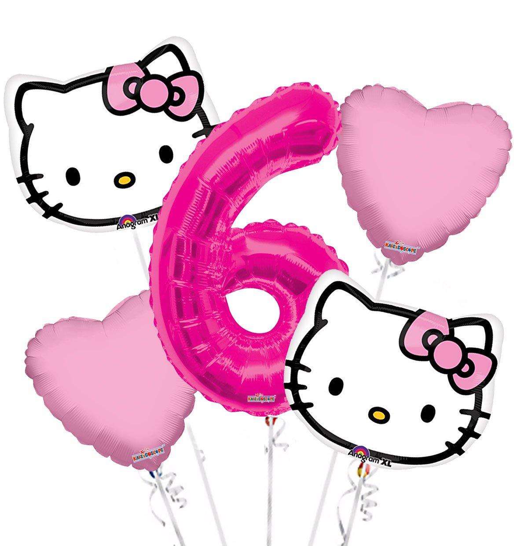 793fafd4f Amazon.com: Hello Kitty Head Balloon Bouquet 6th Birthday 5 pcs - Party  Supplies: Health & Personal Care