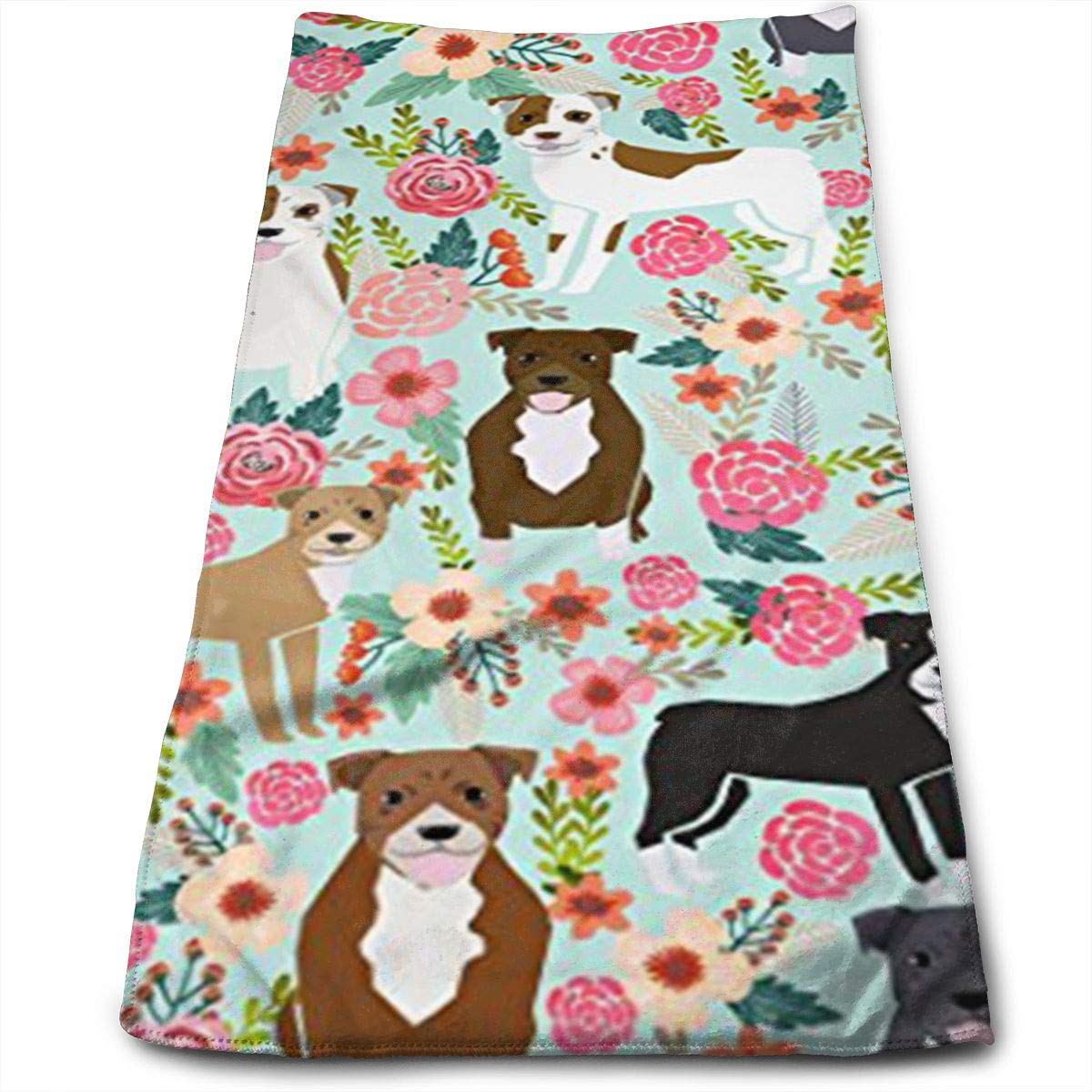 QiFfan22 Pitbull Terriers Cute Dogs Kitchen Towels - Dish Cloth - Machine Washable Cotton Kitchen Dishcloths,Dish Towel & Tea Towels for Drying,Cleaning,Cooking,Baking (12 X 27.5 Inch)