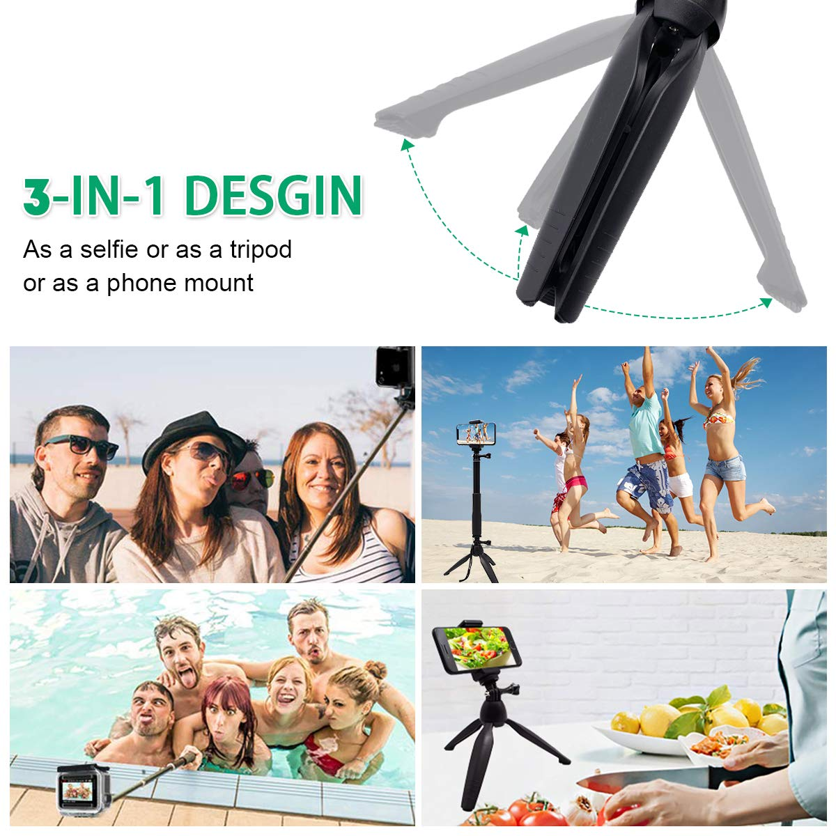 SYOSIN Selfie Stick, 3 in 1 Extendable Selfie Stick Tripod with Detachable Bluetooth Wireless Remote Lightweight Phone Holder (BK)
