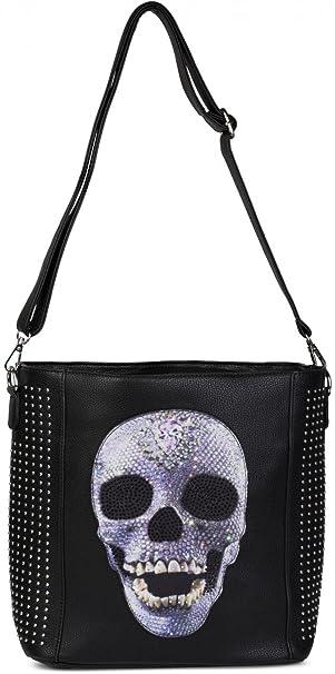 styleBREAKER Handtasche mit Totenkopf Applikation, Strass