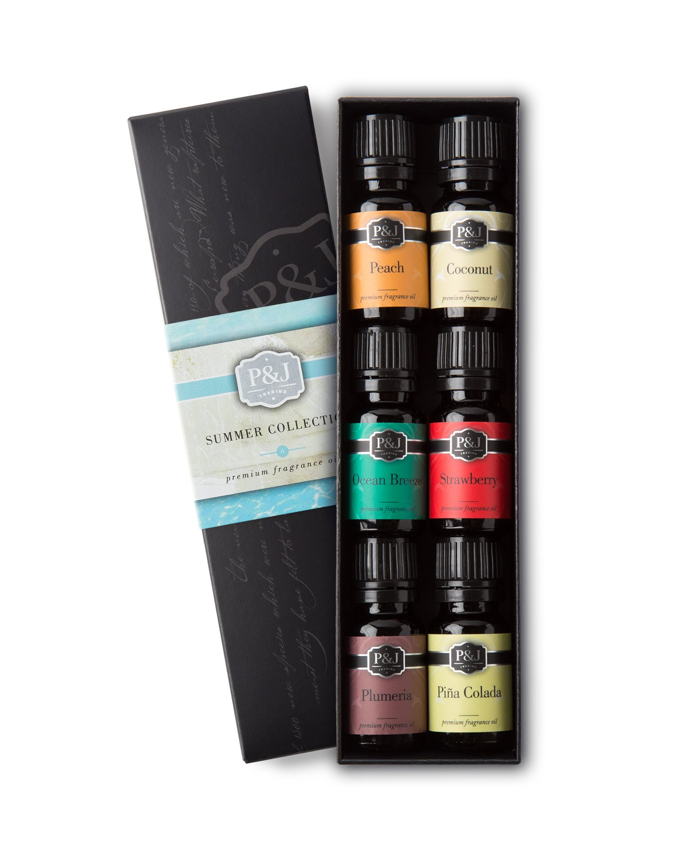 P&J Trading Summer Set of 6 Premium Grade Fragrance Oils - Peach, Strawberry, Plumeria, Coconut, Ocean Breeze, Pina Colada - 10ml