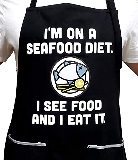 - Seafood Diet - Funny Apron - 100% Cotton - Universal Size - Adjustable Neck Strap - 2 Pockets - Gift