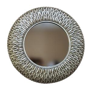 LIU UK Makeup Mirror Salle de Bains Miroir Européenne Rétro Ronde Forme de Plume Tenture Murale Miroir Décoratif Miroir de Maquillage Accueil (Couleur : Silver)
