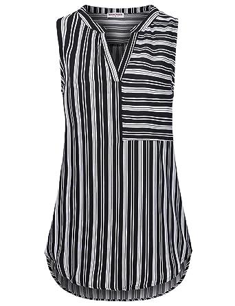 ca6bea4d07b3d MOOSUNGEEK Ladies Tank Tops Fashion Striped Chiffon Blouses for Leggings  Black-1 M