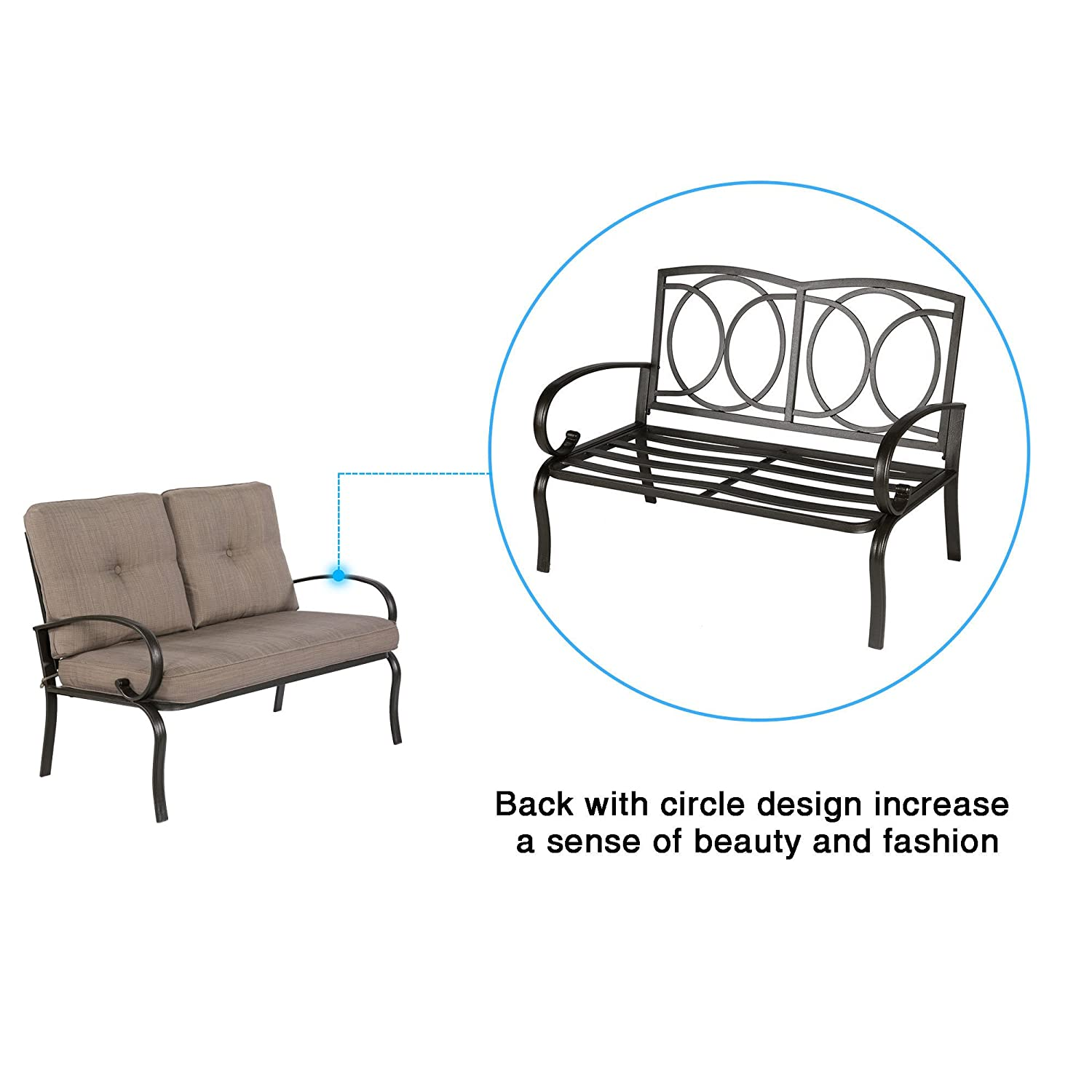 Cloud Mountain Patio Loveseat Outdoor 2 PCs Loveseat Furniture Set Garden Patio Love Seat Bench Sofa with Cushions Brick Red