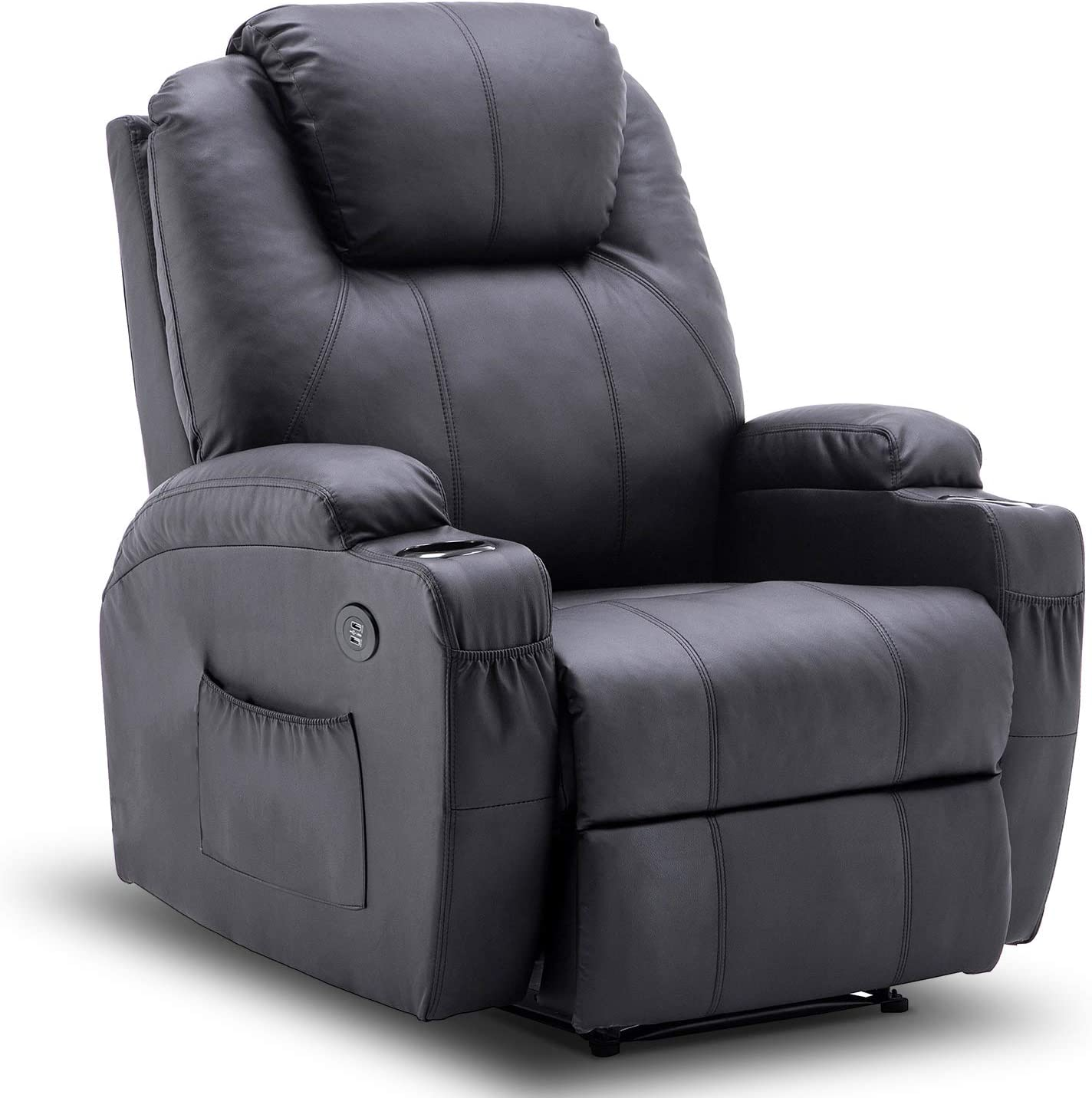 Amazon Com Mcombo Electric Power Recliner Chair With Massage And Heat 2 Positions Usb Charge Ports 2 Side Pockets And Cup Holders Faux Leather 7050 Black Kitchen Dining