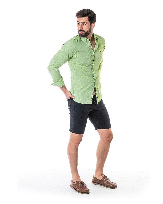 SPAGNOLO PAUL & ESTHER Camisa Cuello Boton Smart Lino Liso 1410 (M ...