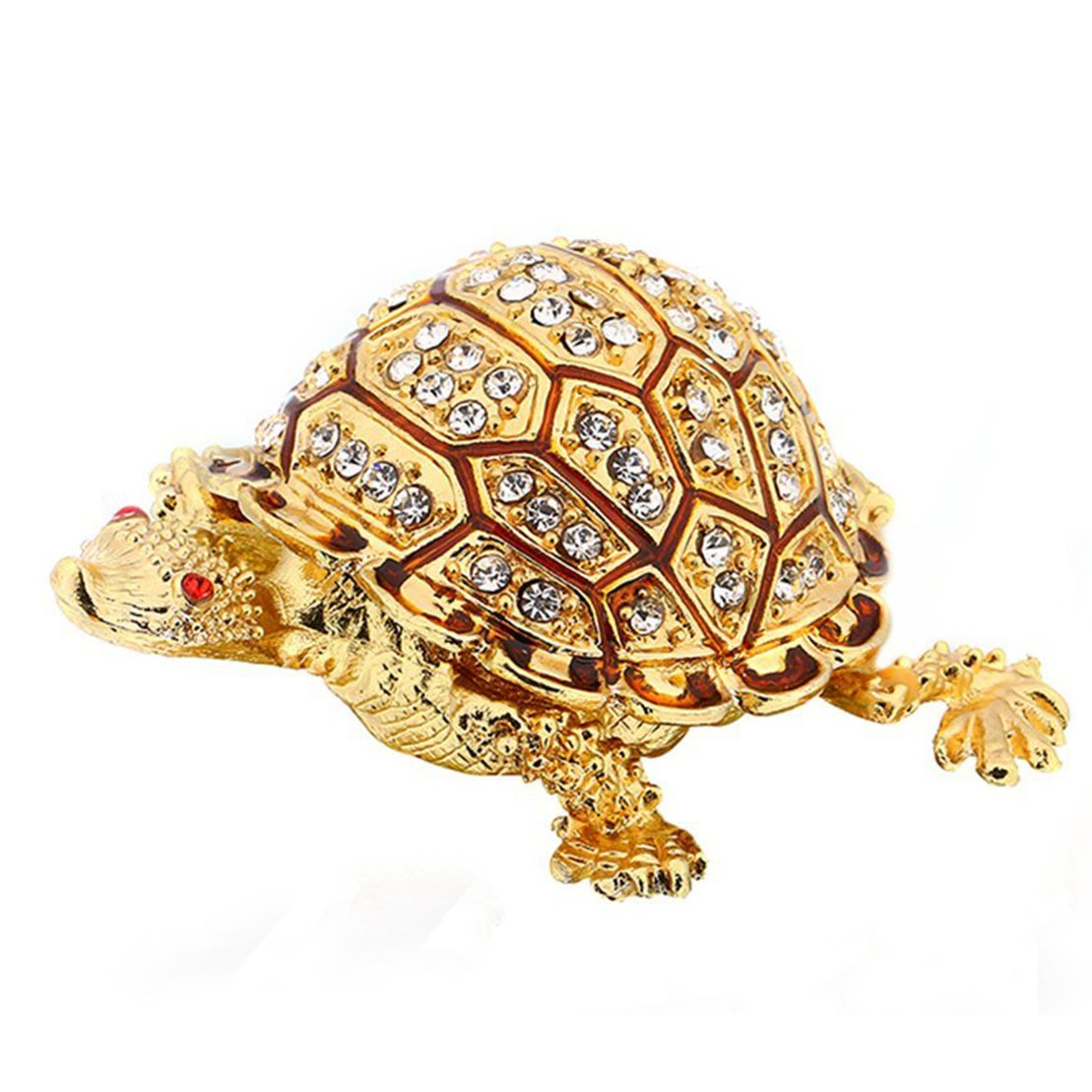 Waltz& F Trinket Boxes Hinged Crystals Jewelry Box with Gift Box Golden Turtle Figurines ltd