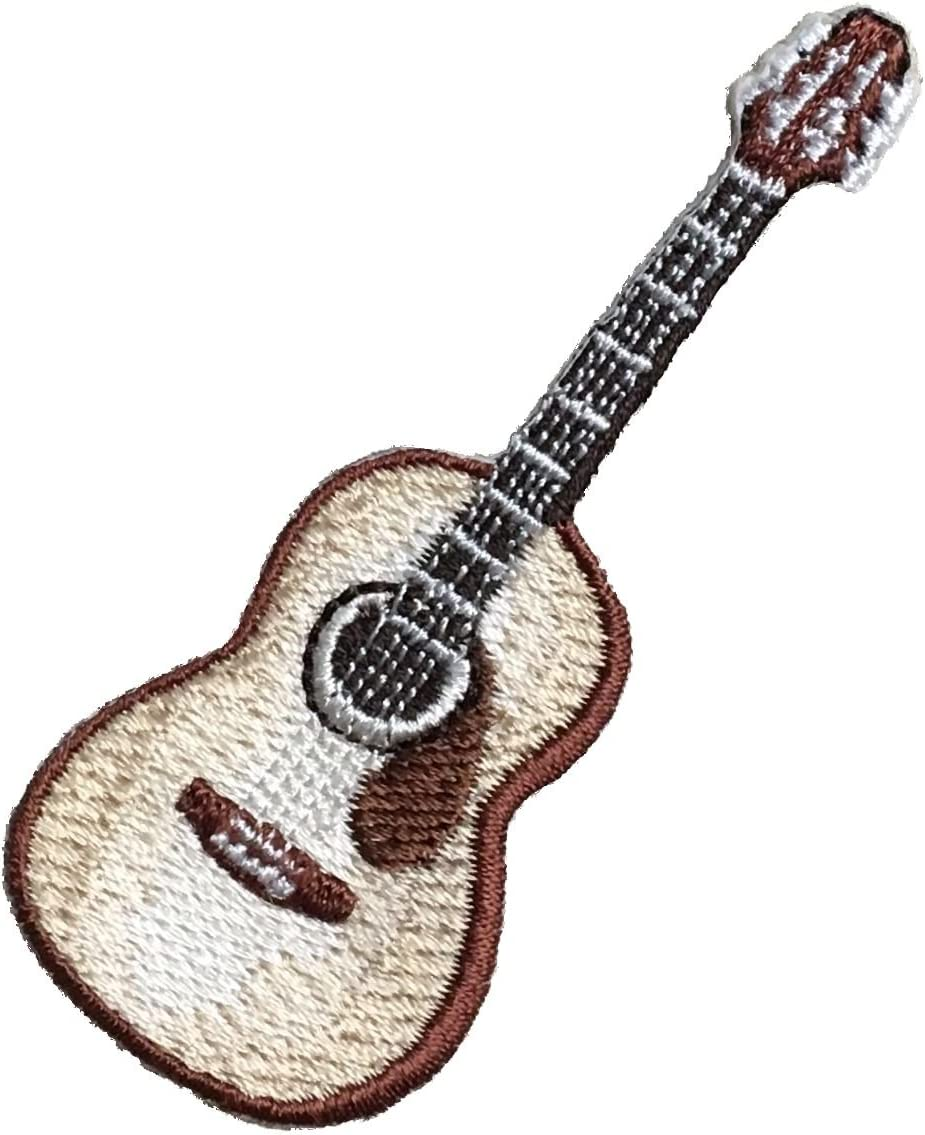 Natural//Brown Iron on Applique//Embroidered Patch Musical Instrument Acoustic Guitar