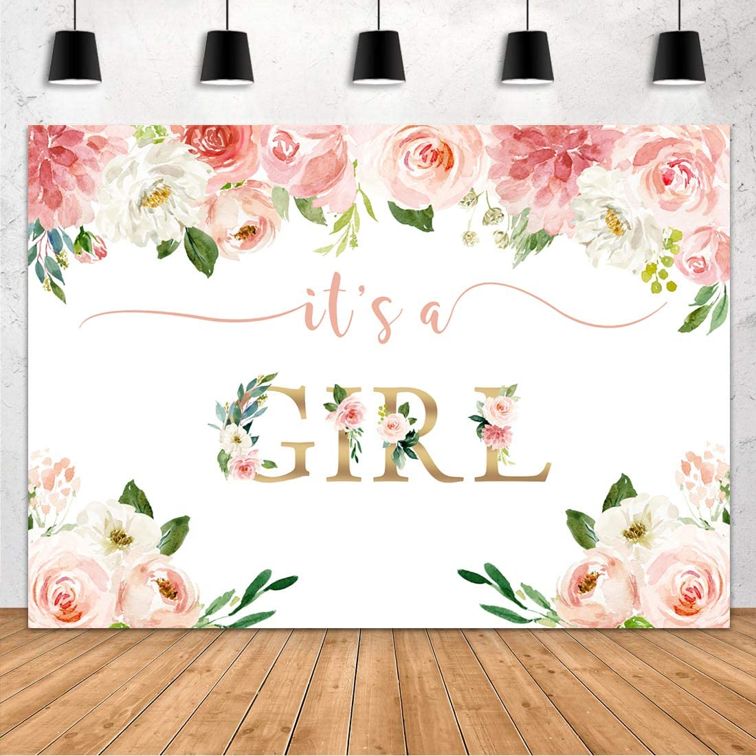 Aperturee It's a Girl Baby Shower Backdrop Watercolor Pink Floral Photography Background 7x5ft Flower Baby Girl Party Decorations Photo Booth Photoshoot Props Banner Supplies