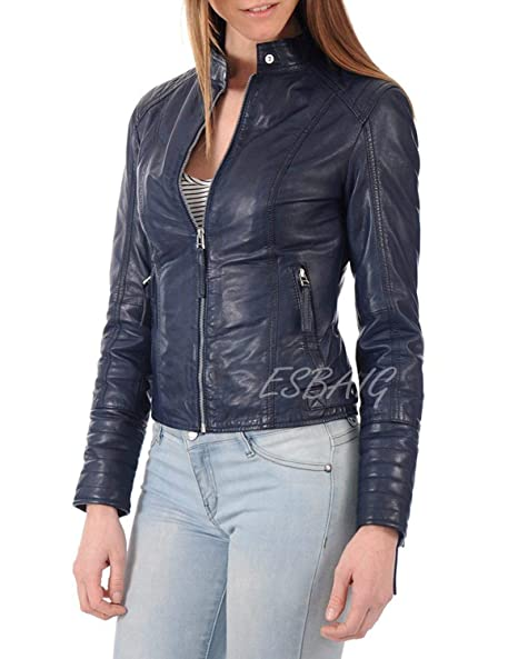 Amazon.com: Chaqueta de cuero para mujer, estilo elegante de ...