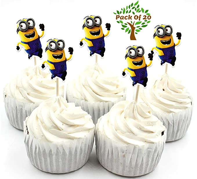 Amfin Pack Of 20 Minion Cup Cake Topper Set Minion Birthday