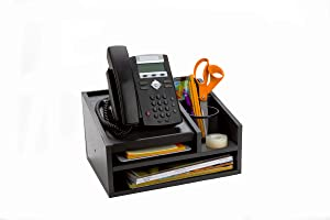 Mind Reader MDFBOX5-BLK Office Desk 5 Compartments with Letter Tray Phone Stand Pen Pencil Holder, Desktop Organization, File Sorter, Black Wood