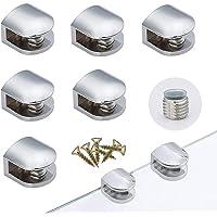 6 Piezas Sólido Abrazadera de Vidrio Ajustable Soporte Clip de Vidrio Semicírculo con Silicona Antideslizante, para…