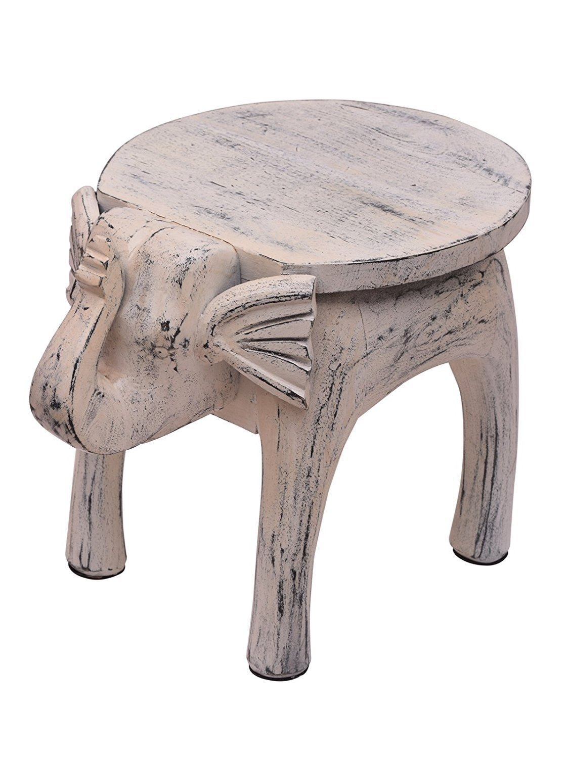 storeindya, Country Style Wooden Round Coffee Table Elephant Shaped Bedside Sofa Side End Table White Distressed Finish Home Kids Room Furniture Shabby Chic Decor - 48.2 X 33 X 36.8 Cm