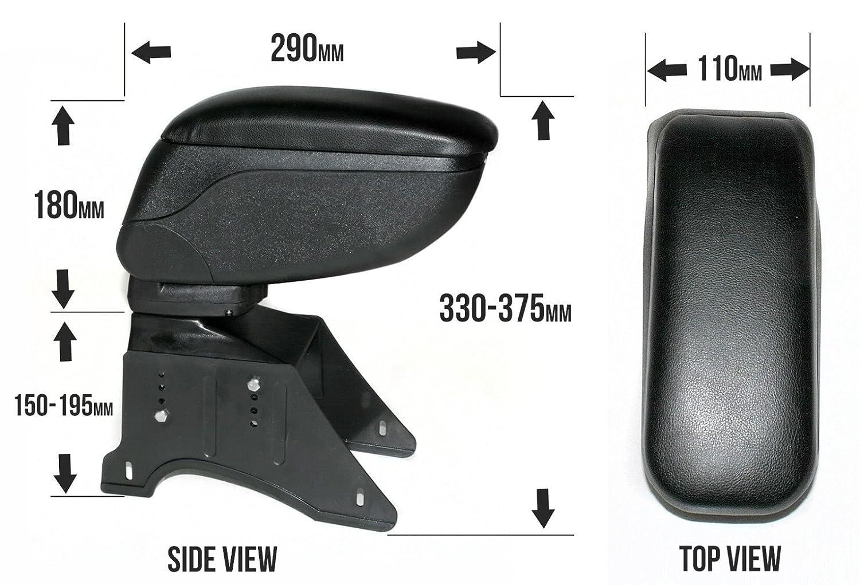 CarJoy 48016 Accoudoir universel coulissant pour console centrale avec bo/îte de rangement en simili cuir noir