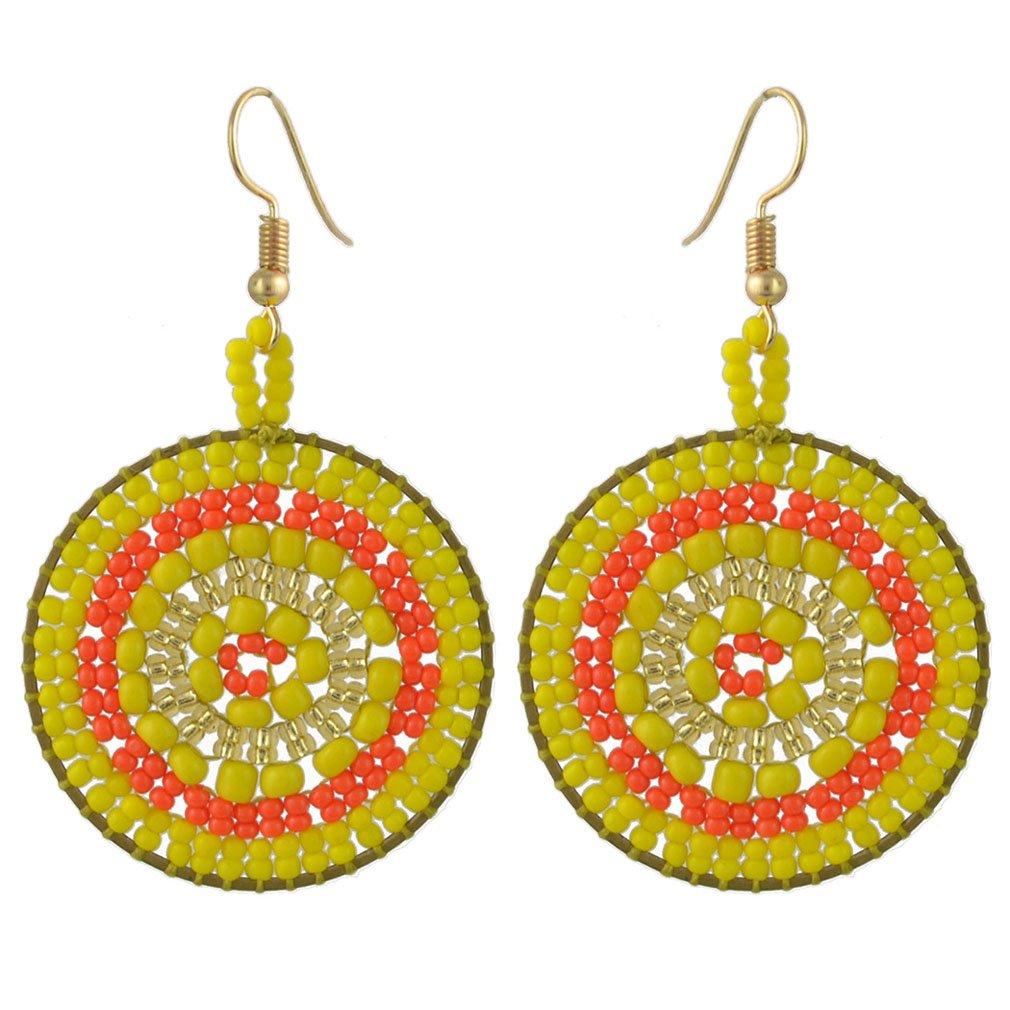 Jinxian Round Beads Drop Earrings Gold Plated Hook Ear Studs Dangling Boho