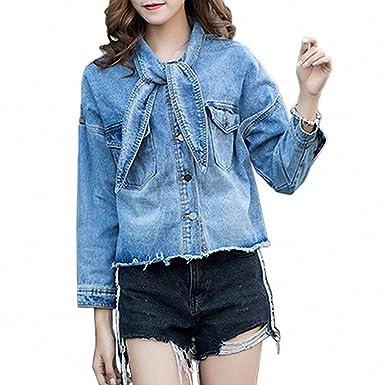 Huiwa Womens Denim Jacket Winrter Vintage Butterfly Collar Short Jeans Coat Jackets Blue M