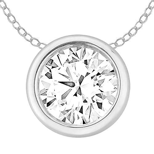 390ca61c2d861 EternalDia 14k Gold Round Diamond Solitaire Pendant Necklace Bezel ...