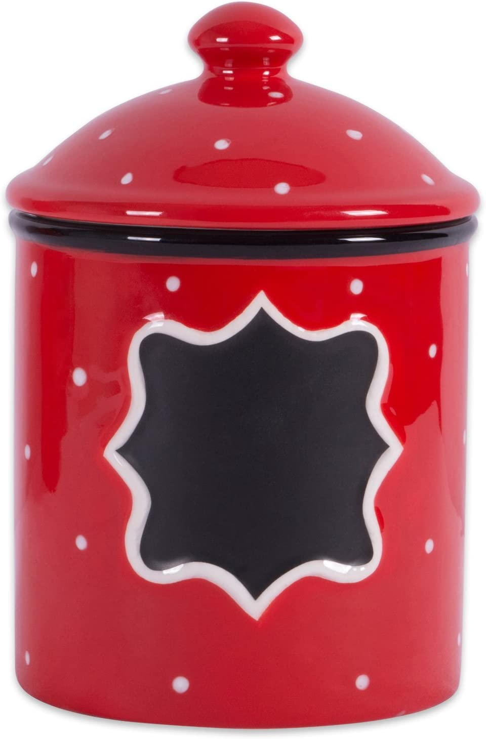 DII Ceramic RED Canister Small, Poka Dot