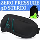 AMAZKER Lightweight Upgraded Contoured & Comfortable Sleep Mask & Ear Plugs Includes Carry Pouch for Eye Mask and Ear Plugs - For Sleeping Travel Shift Work & Meditation for Men and Women