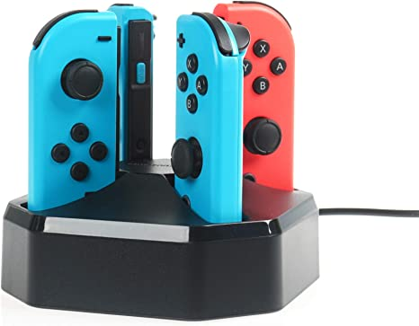 AmazonBasics - Estación de carga para 4 mandos Joy-Con de Nintendo Switch, cable de 7,92 m, color negro: Amazon.es: Videojuegos