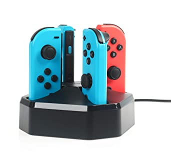 Amazon Com Amazonbasics Charging Station Dock For 4 Nintendo Switch Joy Con Controllers 2 6 Foot Cable Black Video Games