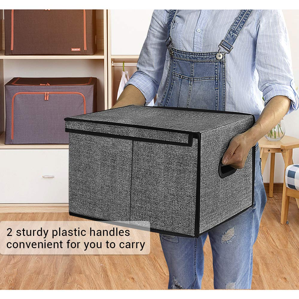 Set of 3 Black With Pattern Homyfort Cloth Collapsible Storage Bins Cubes 11.8X15.7X9.8 Fabric Basket Box Cubes Containers Organizer for Closet Shelves Nursery Cabinet with 2 Plastic Handles