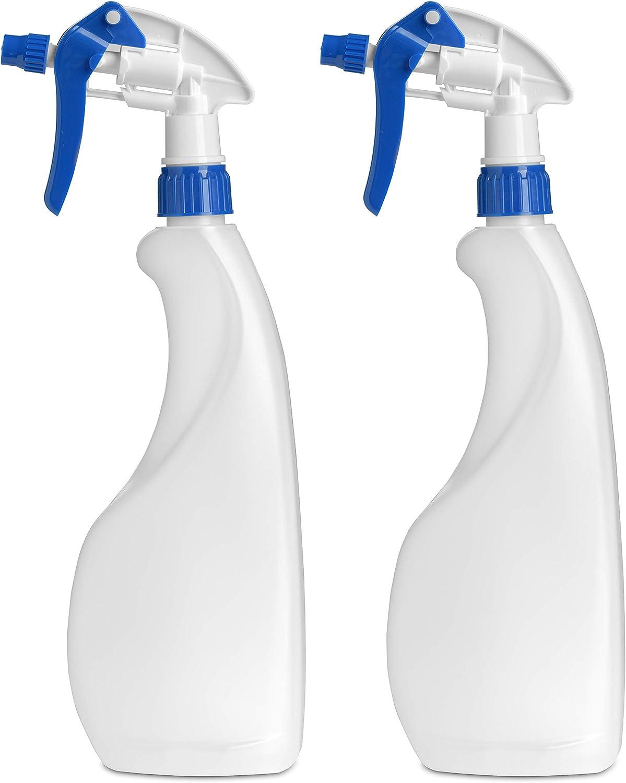 MARKESYSTEM - Botella pulverizador vacía de plástico 750ml (2 Botellas) Traslúcida y reciclable HPDE - Hogar y Profesional - Pistola para Productos químicos, líquidos, alcoholes, etc.