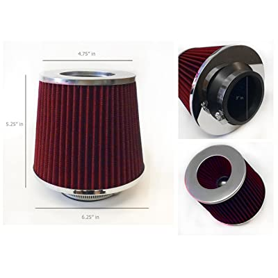 "3"" Inlet (76mm) Cold Air Intake Short Ram Intake Chrome Open Top Air Filter Universal (Red): Automotive"