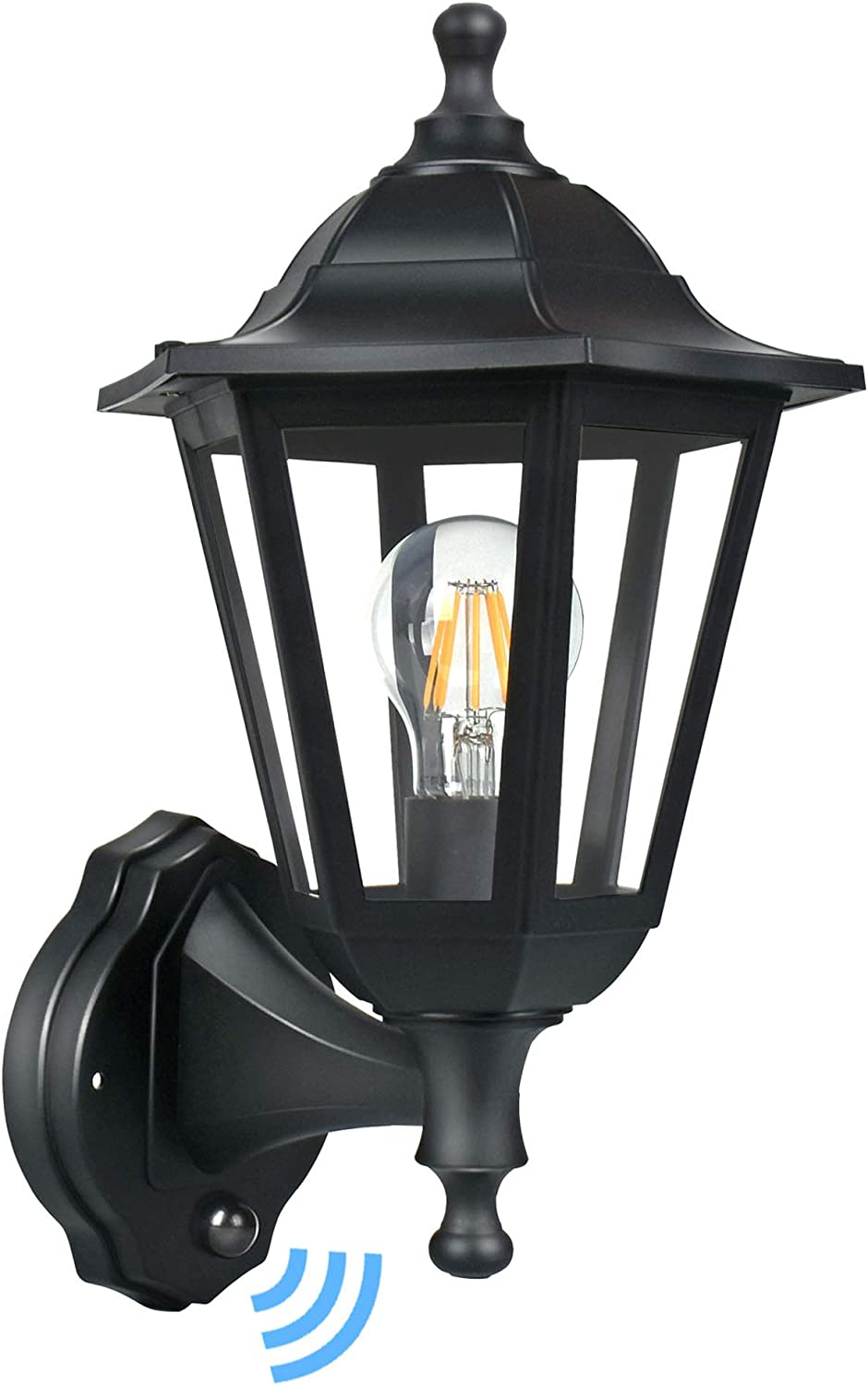 Fudesy Outdoor Wall Lanterns With Dusk To Dawn Sensor 8w Corded Electric Plastic Porch Light Fixtures Included Edison Bulbs P616 E26 Ps