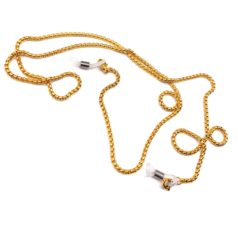 Stainless steel Eyeglass Chain Holder Sunglasses Holder Strap Eyewear Lanyard Accessories (Golden)