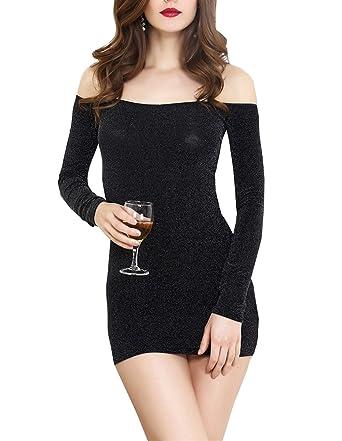 6e347a545ff Femme Robe Moulante Noire à Manches Longues Épaule Nue Sexy Robe de Soirée  Cocktail  Amazon.fr  Vêtements et accessoires