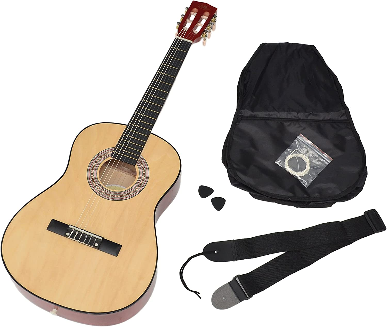 ts-ideen 5261 - Guitarra acústica infantil (tamaño 3/4, niños de 8 a 12 años, incluye funda, correa, cuerdas y púa, color madera natural
