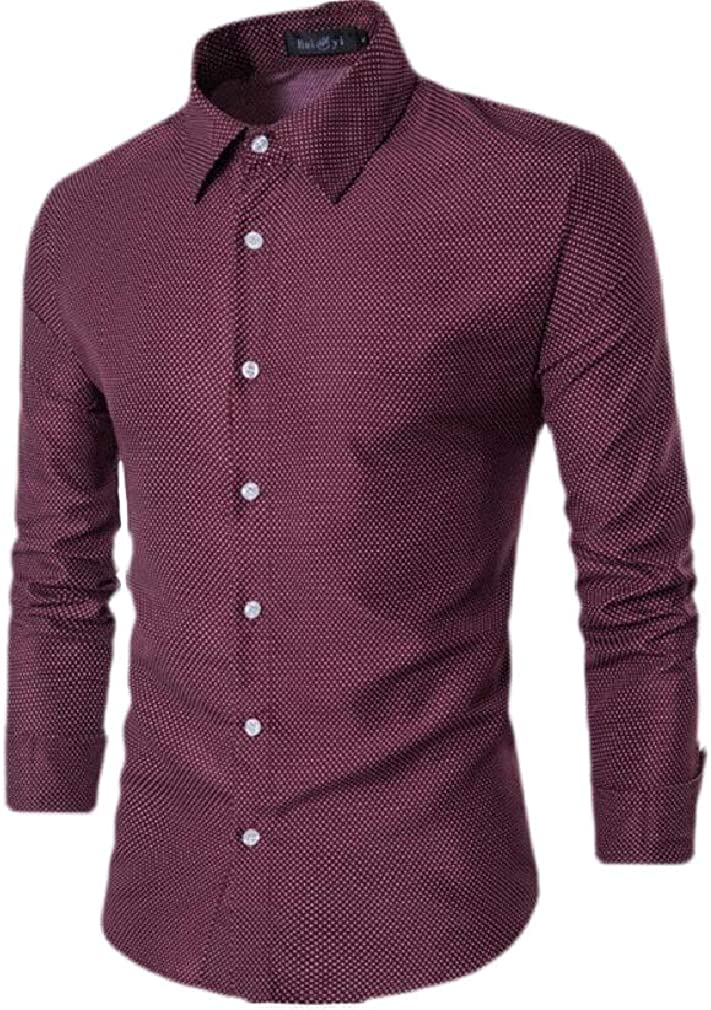 Sweatwater Mens Button Down Slim Fit Cotton Polka Dot Print Long Sleeve Shirts