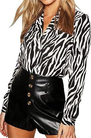 Camisas de Mujer Blusa Estampada Cebra Informal Blusas de Manga Larga con Botones: Amazon.es: Ropa y accesorios