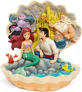 Enesco Disney Traditions by Jim Shore Little Mermaid Seashell Scene Figurine, 8.07 Inch, Multicolor