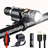 LED Bike Light Set, 1000 Lumen Super Bright Bicycle Light, USB Rechargeable Water Resistant Cycle Light, Including Front Light Rear Light Easy to Install Bracket for Cycling and Use as Flashlight …