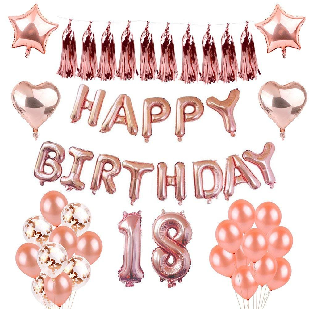 Set Birthday Party Decoration Foil Balloon Letter Heart Star Latex Balloon Garland Rose Golden