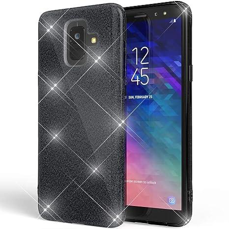 Coovertify Funda Purpurina Brillante Negra Samsung A6, Carcasa Resistente de Gel Silicona con Brillo Negro para Samsung Galaxy A6 (5,6