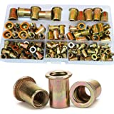 Rivet Nut Threaded Flat Head Insert Nutsert M3 M4 M5 M6 M8 M10 M12 Assortment Kit Zinc Plated Carbon Steel,150Pcs