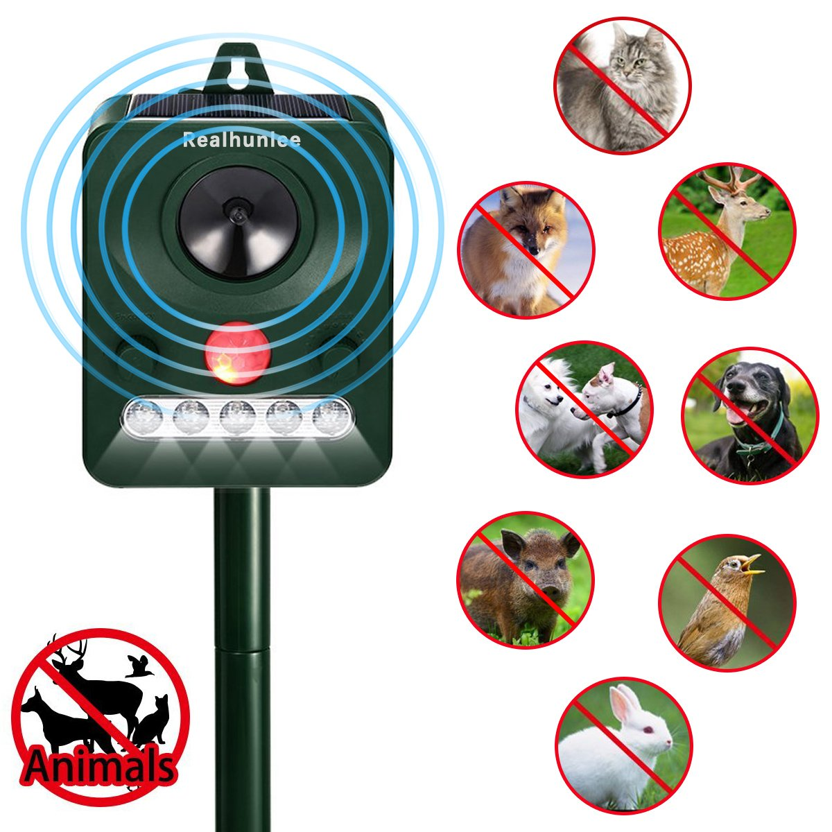 2018 New Solar Powered Ultrasonic Animal And Pest Very Basic Motion Tracking With 2 Pir Sensors Lucky Larry Repeller Outdoor Waterproof Effective Control Repellent Sensor Flashing